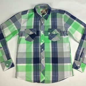 Op green and blue long sleeve button up shirt